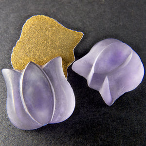 Vintage translucent amethyst matte glass tulip. 12x12mm. Foiled flat back. West Germany. Pkg of 2.b5-428h
