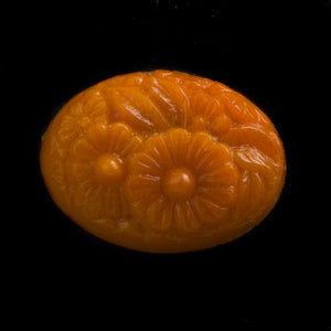 Vintage oval molded tangerine glass carved floral design cabochon Japan 20x15mm 1 pc. b5-789(e)