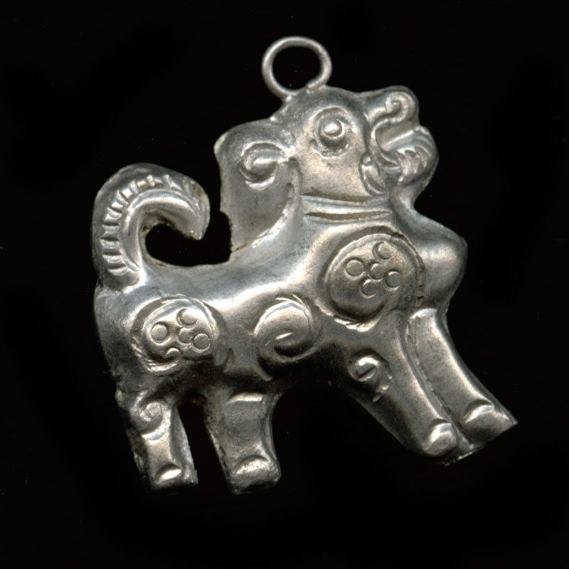 Vintage Chinese coin silver Kirin unicorn charm. 25mm Pkg. of 1. b9-0498B