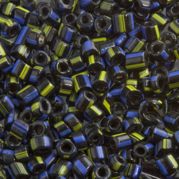 Antique Italian Hudson Bay seed beads 12/0 black with yellow and blue stripes. Mid 1800's. 15 gram bag. b17-184(e)