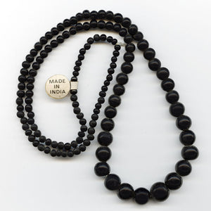 Vintage Black Hand-Wound Glass Beads. India. 5-14mm.  Graduated 30 inch Strand. b11-bw-2018