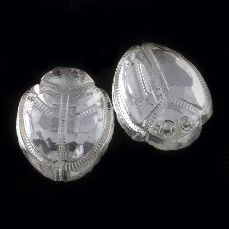 Vintage clear glass flat back foiled scarab cabochon 15x12mm 4 pcs. b5-804(e)