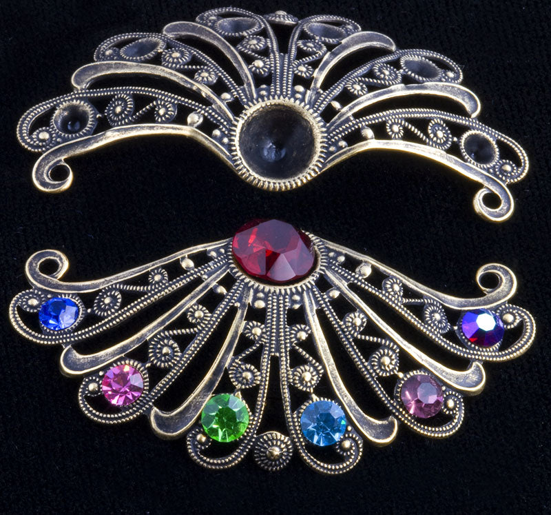 Oxidized brass filigree with point back rhinestone settings from Germany, 54x28mm 1 pc. B9-2108(e)