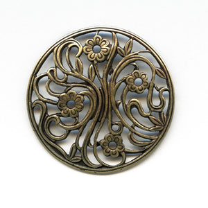 Oxidized yellow brass filigree from Germany, 30mm 1 pc. B9-2104
