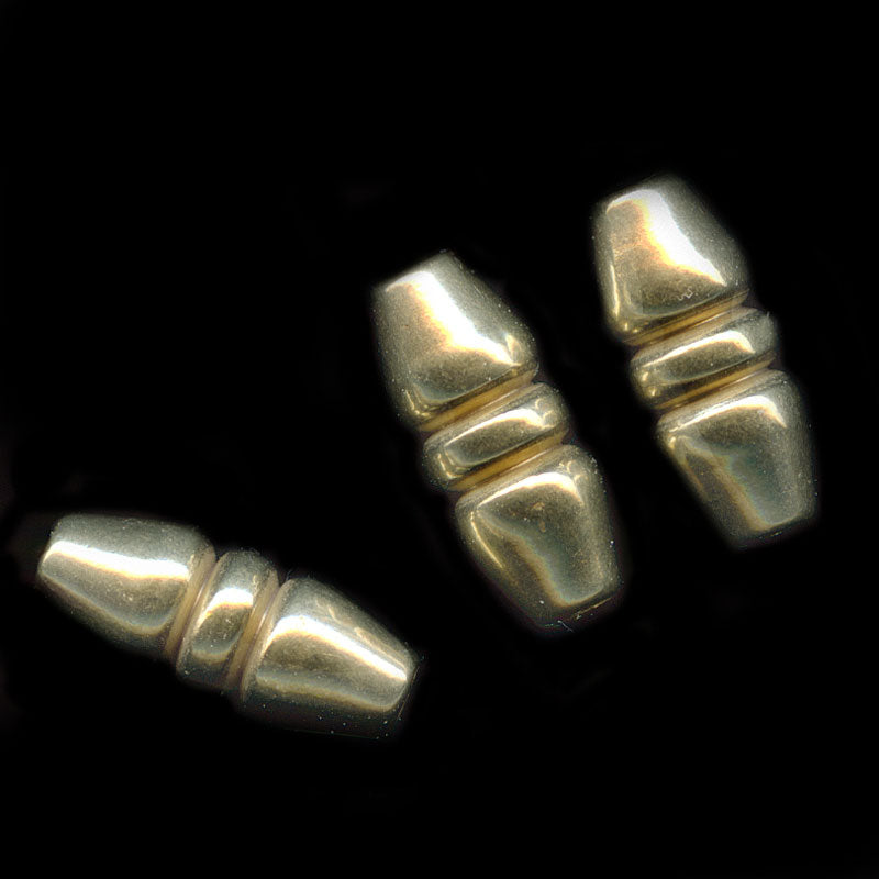 Vintage solid yellow brass oval beads 9x4mm 10 pcs. b18-0339(e)