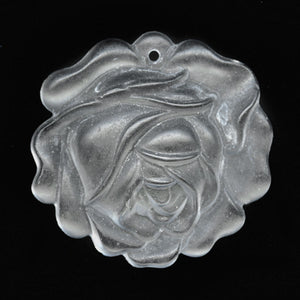 Vintage molded clear matte glass rose pendant, West Germany 18mm pkg of 1. b11-cr-0891