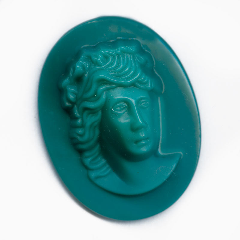 B5-814-Vintage teal green molded glass flat back cameo, 35x26mm West Germany, 1 pc