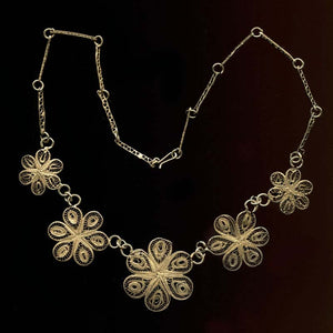 Vintage silver vermeil filigree flower link necklace. nlvs741