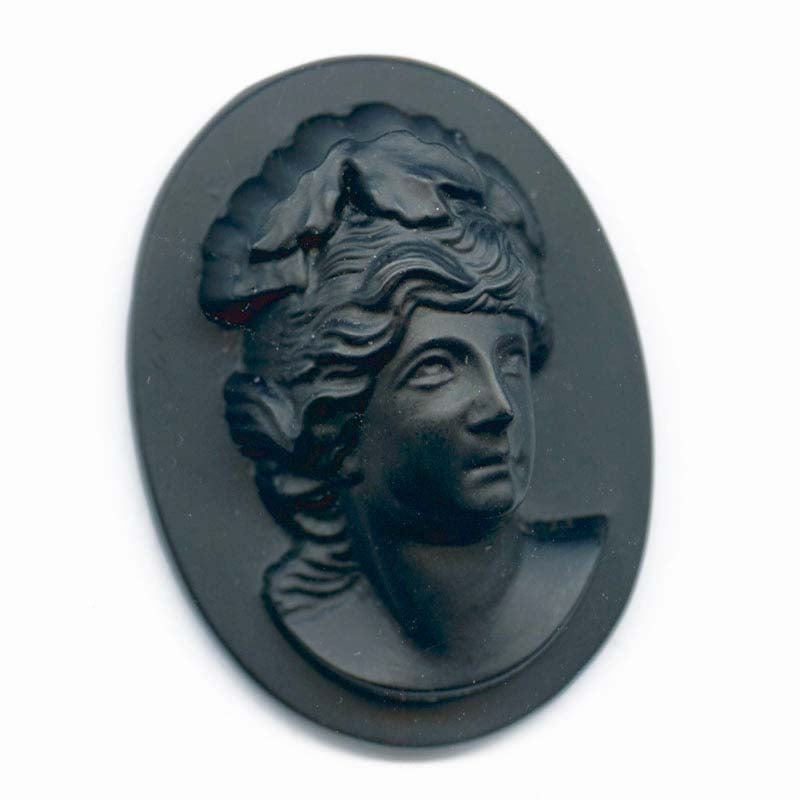 b5-815-Vintage high relief molded glass flat back cameo, matte black glass , West Germany 30x22mm 1 pc