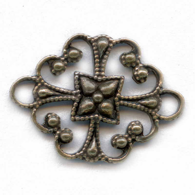 Oxidized brass filigree connector. 12x16mm Pkg. of 4. b9-0720(e)