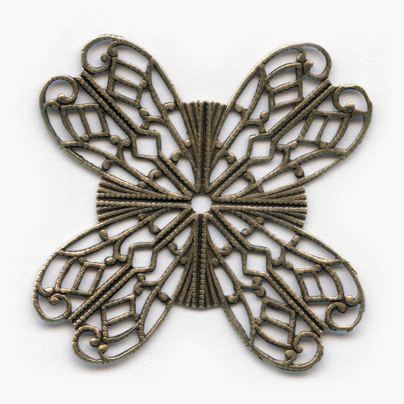 Oxidized brass wrapping filigree 46mm. Pkg. of 1. b9-0577(e)