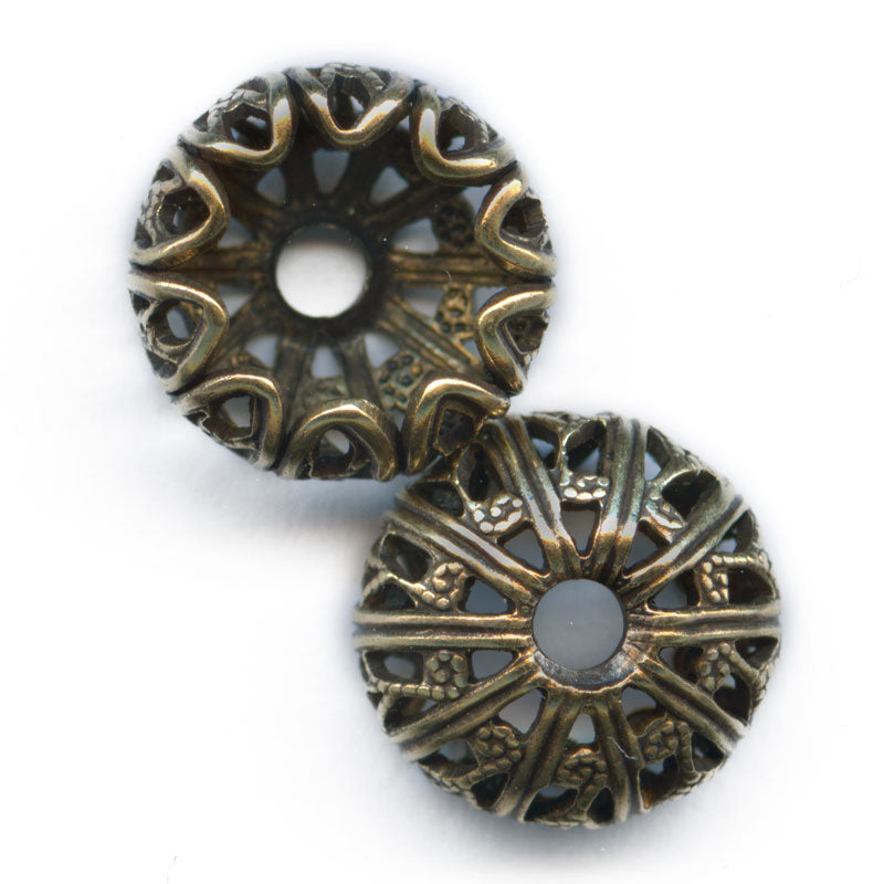 Oxidixed brass filigree bead cap 10x6mm with an 8mm opening. Pkg. of 2. B9-2110(e)