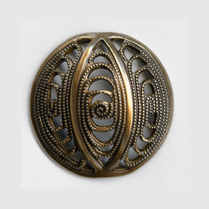 Oxidized domed brass filigree from Germany, 18x5mm 2 pcs. B9-2115