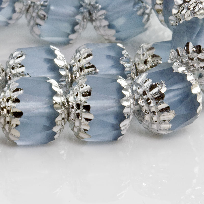 Czech diamond-cut window beads with silver edges in alexandrite blue. 10mm. 4 pcs. b11-bl-1199
