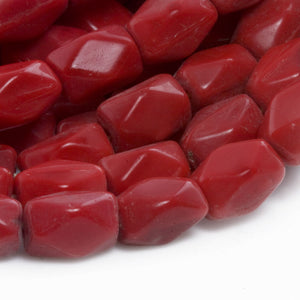 Vintage pre-WWII Czech lipstick red faceted glass ovals, 9x5mm, 10 pcs. b11-rd-0847(e)