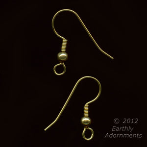Raw brass French hook ear wire with loop, ball and coil. 20 pcs. b9-2123(e)