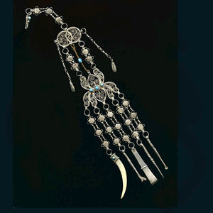 Antique Persian silver filigree chatelaine with Persian turquoise stones. pdvs543gh