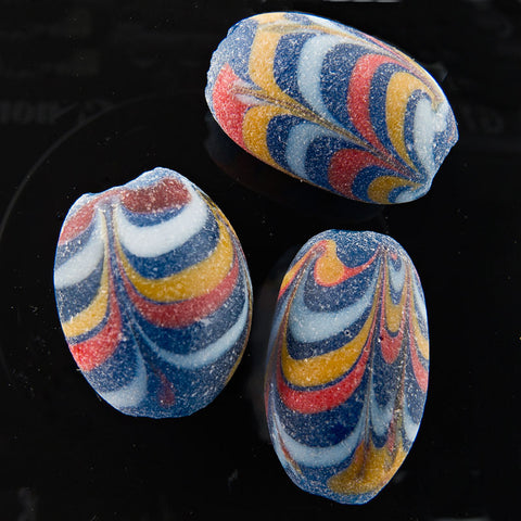 Ancient East Java Pelangi Jatim bead replica 15x10mm pkg of 1. b1-696(e)