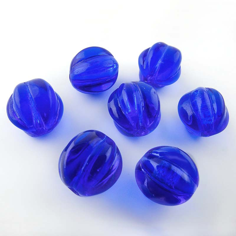Vintage cobalt blue translucent fluted rounds, Japan, 10mm, Pkg of 10. b11-bl-1154(e)
