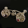 Vintage silver metal screwbacks with rhinestone sold as pair. b9-2010