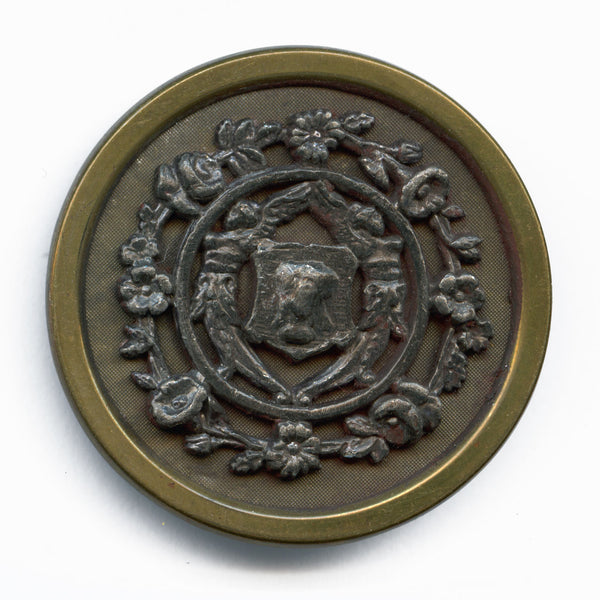 Antique stamped brass large picture button. 1.5 inches. btvc272(e)