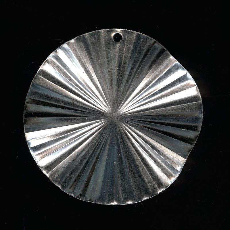 Vintage ruffled silver plated disk pendant, 33mm diameter Pkg of 2. b9-2013(e)