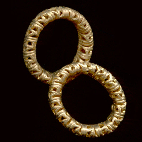Brass filigree oval ring 17x15mm, Pkg. of 2. b9-0699c(e)