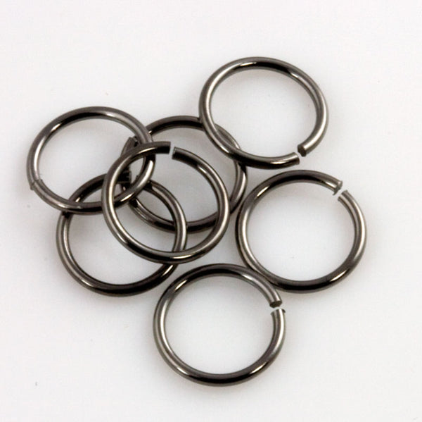 b9-1074-Gunmetal finish jump rings, 10mm. Package of 25