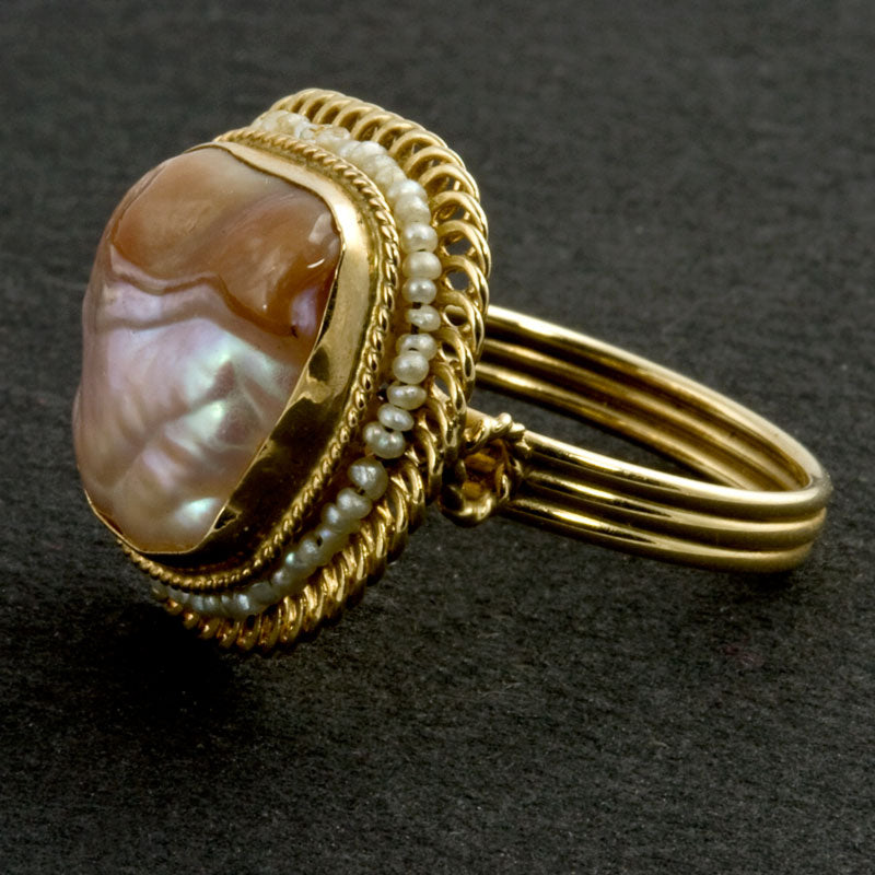 rgfn164(e)-Vintage baroque pearl ring surrounded by hand crafted filigree and seed pearls size 6.75