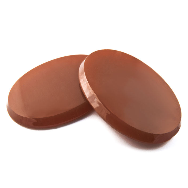 Vintage caramel glass flat topped beveled cabochon Czechoslovakia 30x22mm Pkg of 1. b5-673(e)