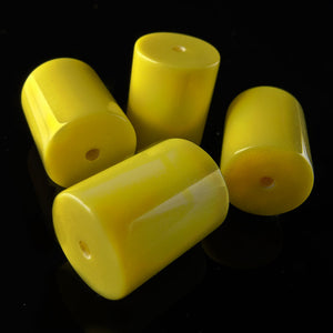 b6-180-1960s vintage yellow Lucite cylinders12x10mm Pkg of 6