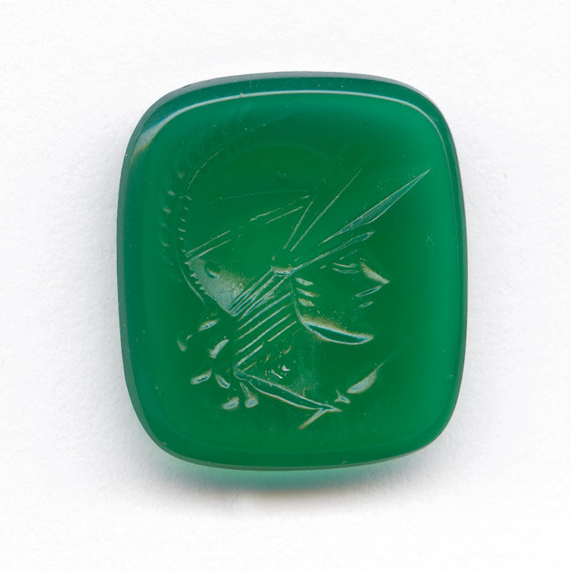 Vintage chrysoprase glass warrior intaglio, West Germany, 16x14mm Pkg of 2. b5-675(e)