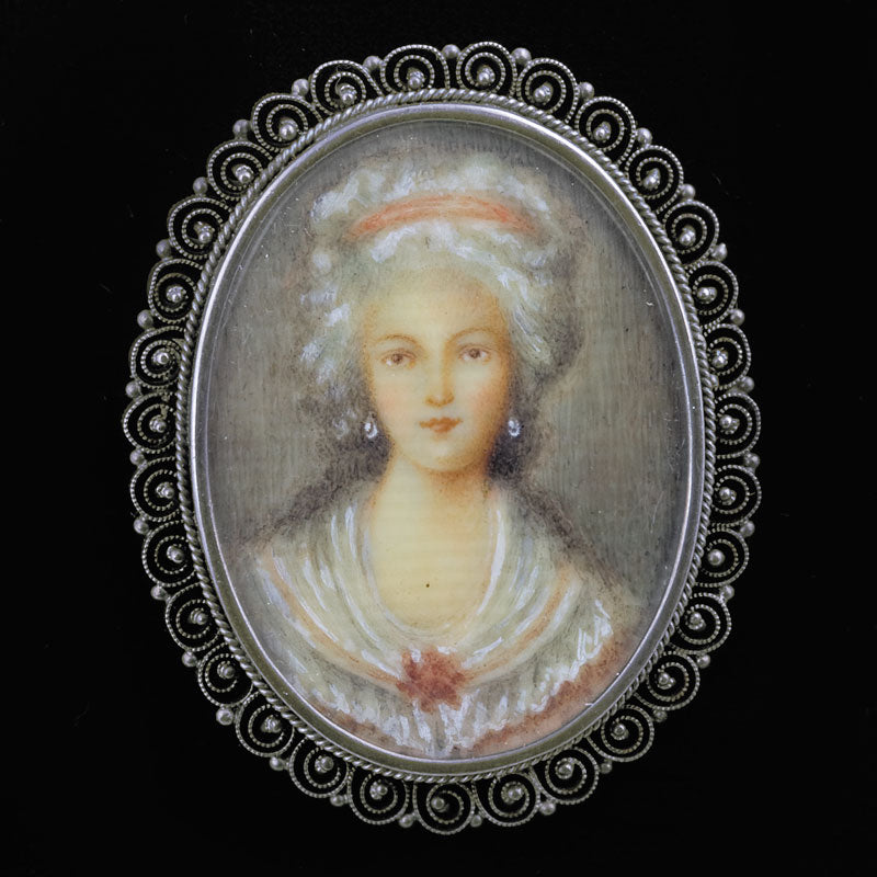 Antique Victorian sterling silver brooch with hand painted portrait on ivory. pnvc1037sbk