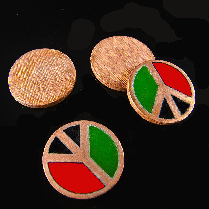 1960s copper enameled peace symbol disks. 6mm pkg of 2. b5-680