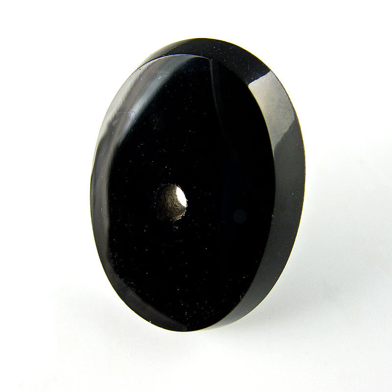 Vintage jet glass flat oval cabochon with beveled edge and center hole, France 1920s, 28x21x5.5mm pkg of 1. b5-687(e)