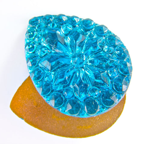 Vintage foiled flat back molded aquamarine glass teardrop. 25x18mm pkg of 2. b5-676(e)