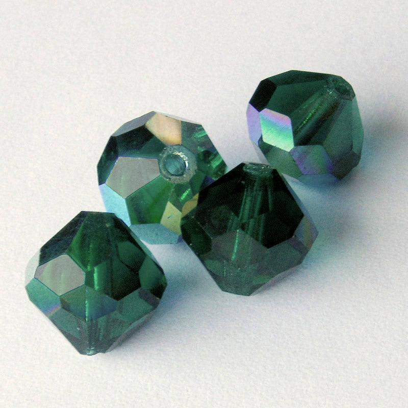 Vintage Czech tin-cut emerald green AB faceted beads, 12x12mm pkg of 2. b11-gr-1005(e)