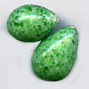 Vintage Czech hand made speckled green glass teardrop 23x16mm pkg of 1. b11-gr-0992-2