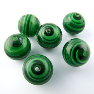 Vintage malachite green swirled glass rounds. Japan 1950s 10mm Pkg of 6. b11-gr-1029(e)