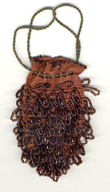 HBAD411 Antique beaded and crocheted reticule bag