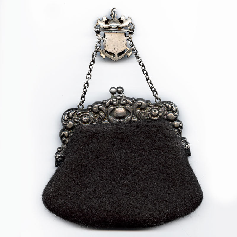 Victorian sterling silver repoussé and fabric chatelaine purse. Blackinton hallmark. ac-vc-hb709