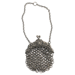 Antique Victorian repoussé sterling silver chatelaine chain mail coin purse c. 1890. hbvc716