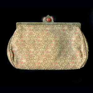 Vintage silk brocade evening bag with fancy carnelian clasp. hbvn710