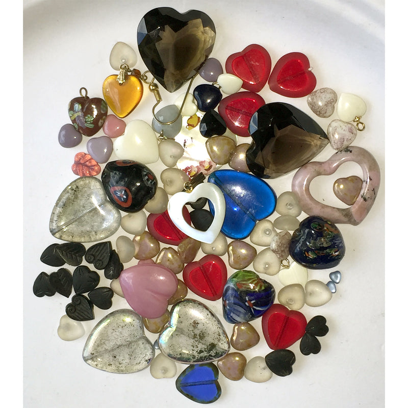 A fine grab bag of vintage heart beads and stones, b19-003
