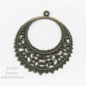 Oxidized brass filigree pendant. 40x37mm. Pkg. of 2. B9-2293(e)