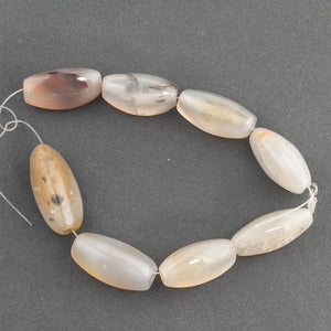 Group of old white, grey and beige agate beads, India, 3 sided ovals.  8 pieces from 25-29mm.   B4-aga264