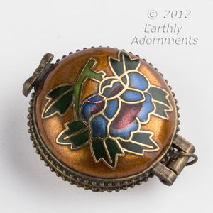 Cloisonne and bone locket with inlaid dragonfly, silver on copper frame, 37 x 32mm. Pkg. 1. b2-534(e)