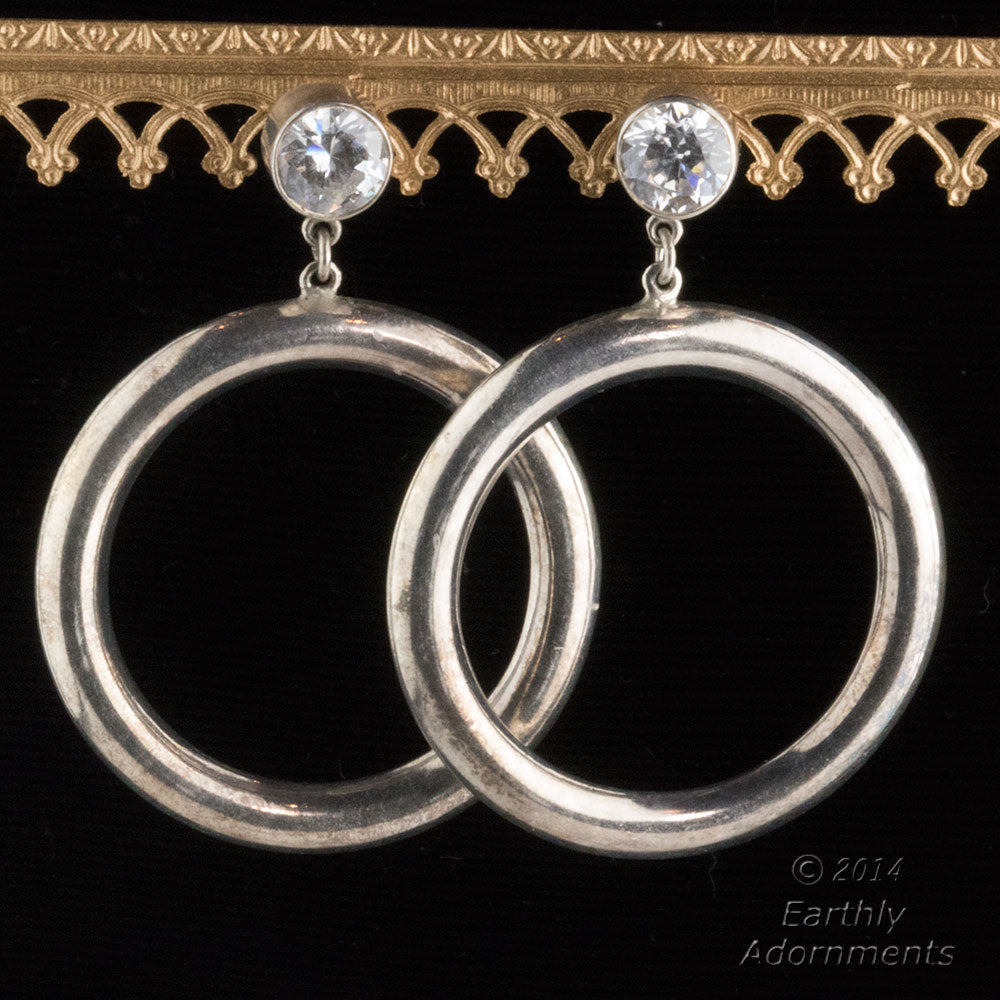1970's silver plated and crystal hoop earrings. ervn925