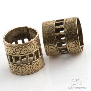 Oxidized stamped brass fancy engraved tube . 13mm diameter. Pkg of 1. B18-434(e)