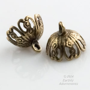 Oxidized brass up-eye filigree bead cap. 9x11mm. Pkg of 4. B9-2285(e)